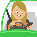 Young woman using her smartphone behind the wheel. Problem addiction danger concept