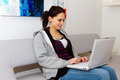 Young woman using laptop Royalty Free Stock Photography