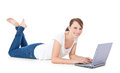 Young woman using laptop computer attractive all on white background Royalty Free Stock Image
