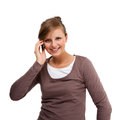 Young woman using mobile phone isolated white background Royalty Free Stock Photo