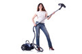 Young woman with vacuum cleaner on white Royalty Free Stock Photo