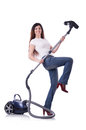 Young woman with vacuum cleaner on white Royalty Free Stock Image