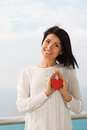 Young woman with valentine s heart pretty laughing Stock Images