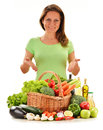 Young woman variety vegetables isolated white background Stock Photo