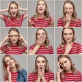 stock image of  Young woman with various emotions on collage