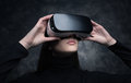 Young woman with virtual reality headset Royalty Free Stock Photo