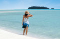 Young woman visit aitutaki lagoon cook islands relaxing on Royalty Free Stock Photos