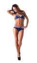 Young woman walk in blue bikini isolated Royalty Free Stock Images