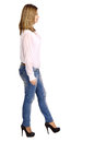 Young woman walking isolated in white Royalty Free Stock Photography
