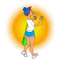 Young woman walking with phone in headphones pop art retro vector illustration. Comic girl with blue hairs and coffee