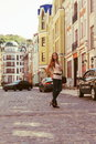 Young Woman Walking the Street Royalty Free Stock Images