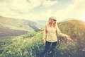 Young Woman walking Travel Lifestyle concept Royalty Free Stock Photo