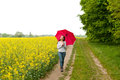 Young woman walking with umbrella Stock Photos