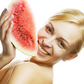 Young woman with water melon beautiful Stock Photos