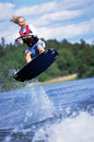 A young woman water skiing Royalty Free Stock Photo