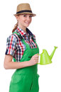 Young woman with watering can on white Stock Photography