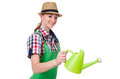Young woman with watering can on white Stock Photo