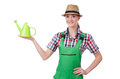 Young woman with watering can on white Stock Image