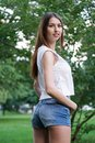 Young woman wearing denim hot pants or booty shorts Royalty Free Stock Photo