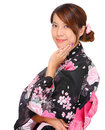 Young woman wearing Japanese kimono Royalty Free Stock Photography