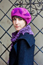 Young woman wearing pink beret Royalty Free Stock Photo