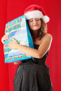 Young woman wearing santa claus hat Stock Photo