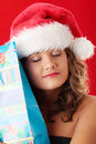 Young woman wearing santa claus hat Royalty Free Stock Image