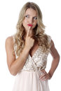 Young woman wearing sheer flimsy dress confused Stock Images