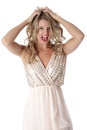 Young woman wearing sheer flimsy dress frightened scared Stock Image