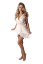 Young woman wearing sheer flimsy dress happy Royalty Free Stock Photography