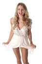 Young woman wearing sheer flimsy dress happy Royalty Free Stock Photo