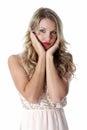 Young woman wearing sheer flimsy dress sad Stock Photo