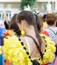 Young Woman wearing traditional Sevillana dresses at the Seville April Fair. Royalty Free Stock Photo
