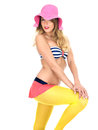 Young Woman Wearing Vintage Bikini and a Straw Sun Hat Royalty Free Stock Photo