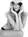 Young Woman Wearing Vintage Bikini and Straw Sun Hat Royalty Free Stock Photo