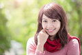 Young woman wearing winter clothing beautiful and smile to you asian beauty Royalty Free Stock Photography