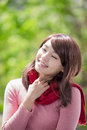 Young woman wearing winter clothing beautiful and smile to you asian beauty Royalty Free Stock Images