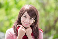 Young woman wearing winter clothing beautiful and smile to you asian beauty Stock Images