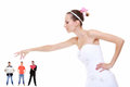 Young woman in wedding dress choosing candidate for husband women bride perfect isolated Stock Image