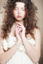 Young woman with white dress Royalty Free Stock Image