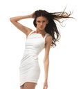 Young woman in white dress picture of posing Stock Photos