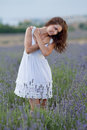 Young woman white outdoors attractive girl field blossoming lavender Stock Image