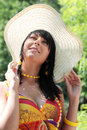 Young woman in wide summer hat Royalty Free Stock Photo