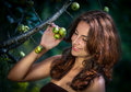Young woman with wild apples soft portrait of Stock Image