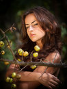 Young woman with wild apples soft portrait of Royalty Free Stock Image