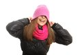 Young woman winter clothing isolated Stock Photos