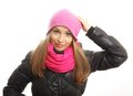 Young woman winter clothing isolated Royalty Free Stock Photo