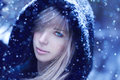 Young woman winter portrait with falling snow Stock Images