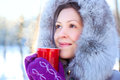 Young woman winter portrait with warm mug Royalty Free Stock Photo