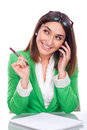 Young woman at work smiling to your mobile beautiful Royalty Free Stock Photography